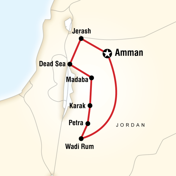 Map of the route for Jordan Highlights
