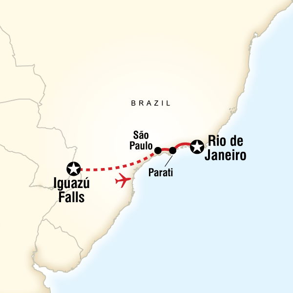 Map of the route for Brazil Journey