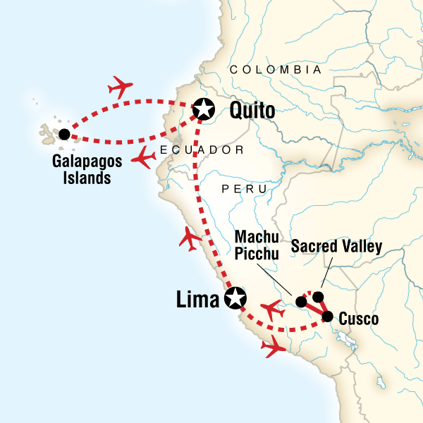 Map of the route for Discover Machu Picchu and Galápagos — Land & Sea Central Islands