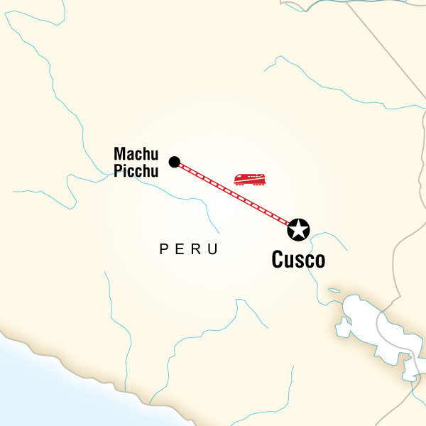 Map of the route for Machu Picchu by Train Independent Adventure - Upgraded