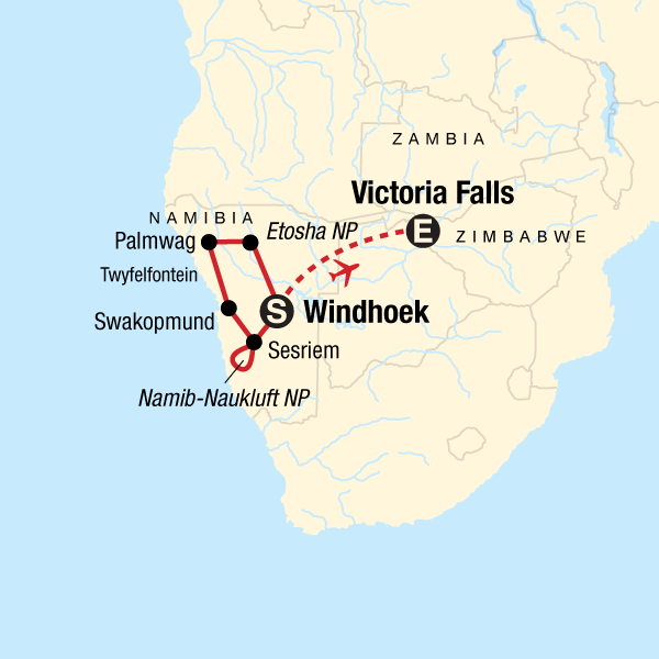 Map of the route for Discover Namibia & Victoria Falls