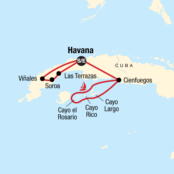 Map of the route for Cuba Libre & Sailing