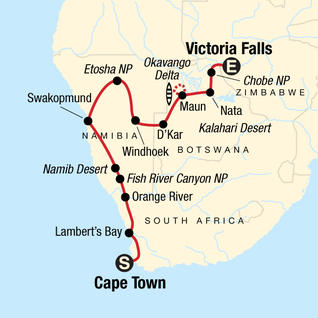 Map of Cape Town to Victoria Falls Adventure