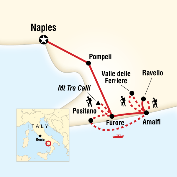 Map of the route for Local Living Italy—Amalfi Coast