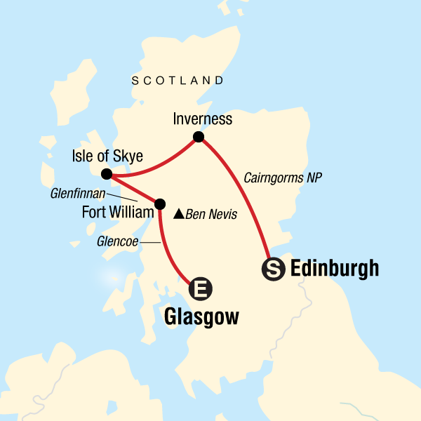 Map of the route for Highlights of Scotland
