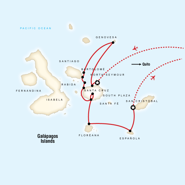 Map of the route for Galápagos — North, Central, & South Islands aboard the Eden