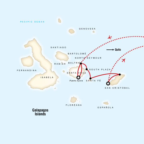 Map of the route for Galápagos Land & Sea — Central & East Islands aboard the Monserrat