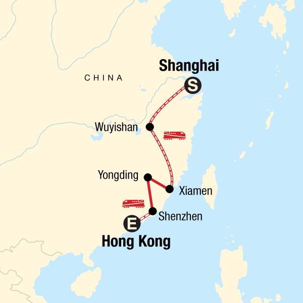 Karte China Hong Kong.Die Fujian Route Von Shanghai Nach Hongkong In China Asien G