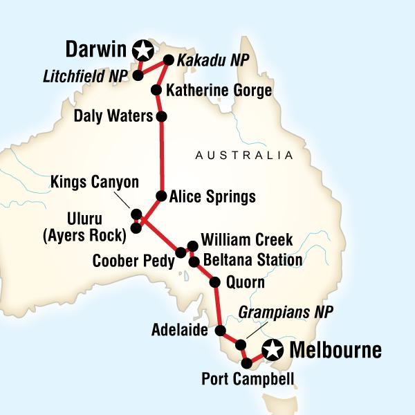 Australia South To North Melbourne To Darwin In Australia