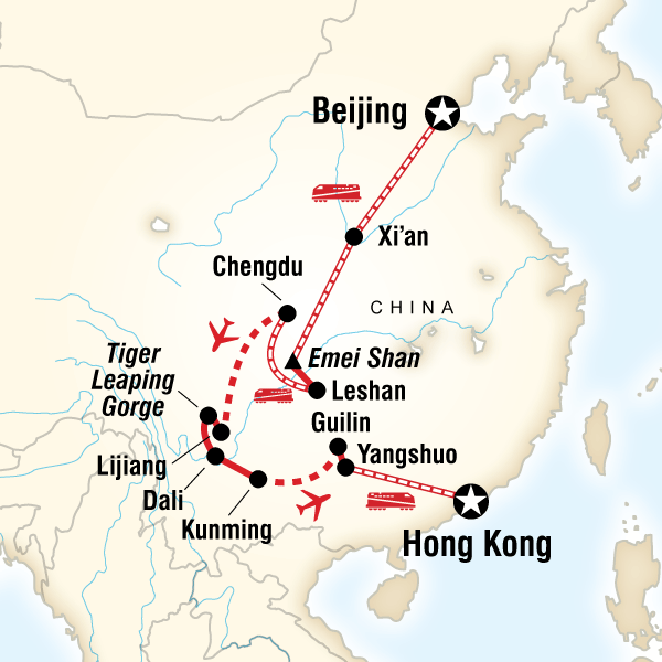 Map of the route for Wild China