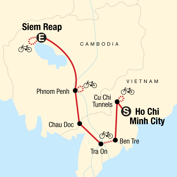 Map of the route for Cycle Indochina: Ho Chi Minh City to Siem Reap