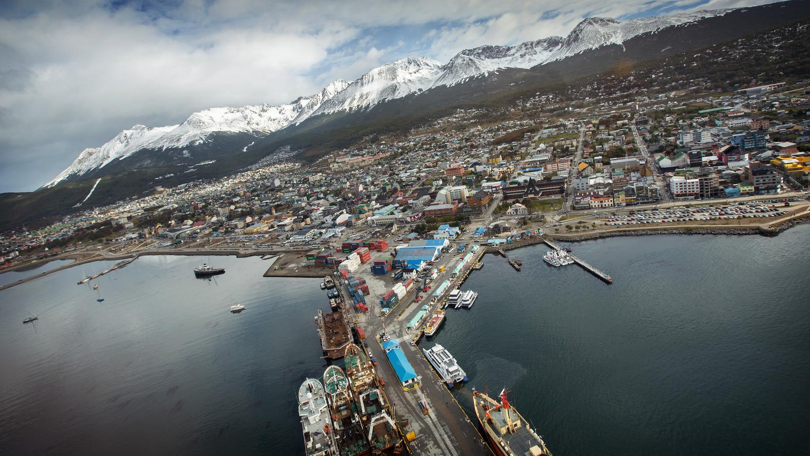 Aerial cityscape photo of the Ushuaia cost in Argentina