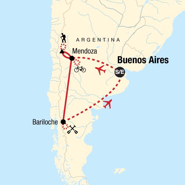 Map of the route for Mendoza and Bariloche Multisport