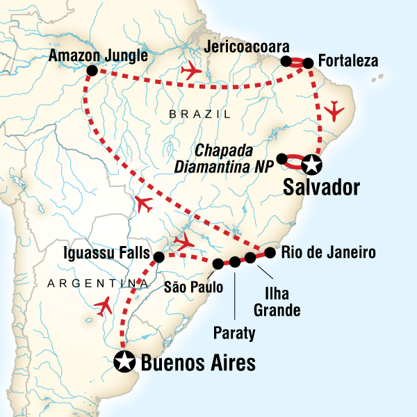 Map of the route for Highlights & Hidden Gems of Argentina & Brazil
