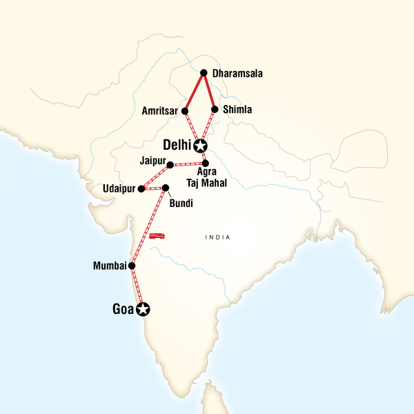 Northern India  Rajasthan to Goa by Rail in India Asia  G