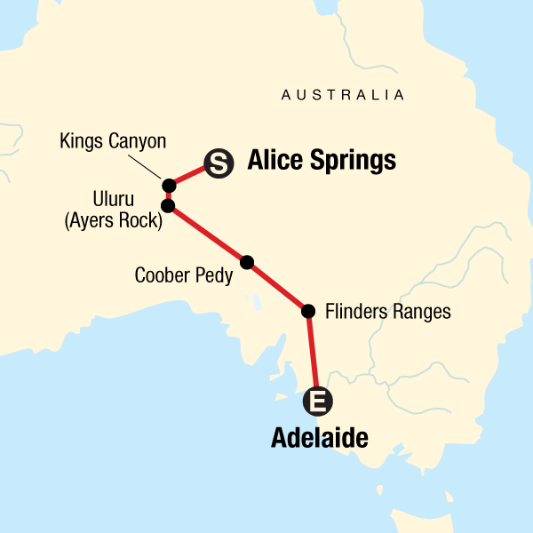 Map Of Adelaide Australia.The Red Centre To Adelaide