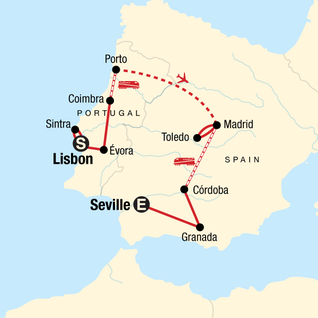 Map of Iconic Portugal & Spain