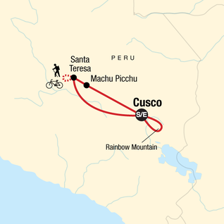 Map of Peru: Inca Jungle & Rainbow Mountain Trek