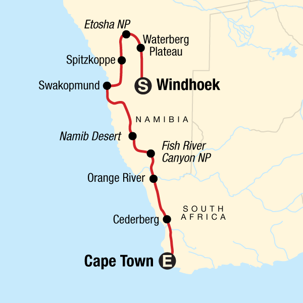 Map of the route for Cape & Dunes Southbound: Desert Camping & Safari Drives