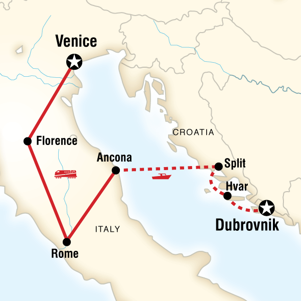 Map of the route for Italy to Croatia Highlights