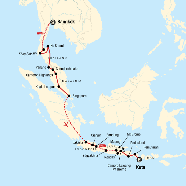 Map of the route for Bangkok to Kuta: Summits & Sunsets