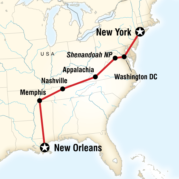 Map of the route for Music, Mountains & Monuments Eastbound