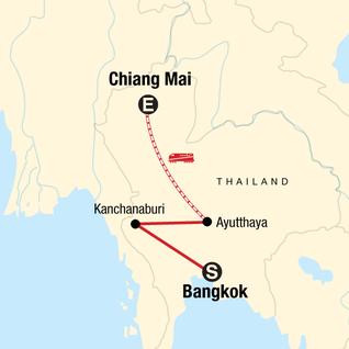 Map of Bangkok to Chiang Mai Express