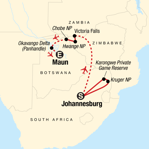 Map of the route for Southern Africa Safari Experience