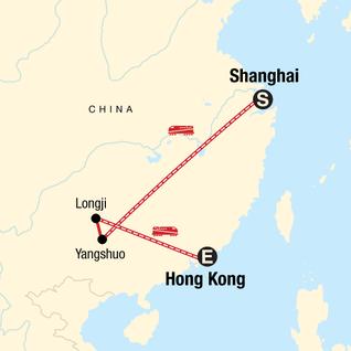 Map of Classic Shanghai to Hong Kong Adventure