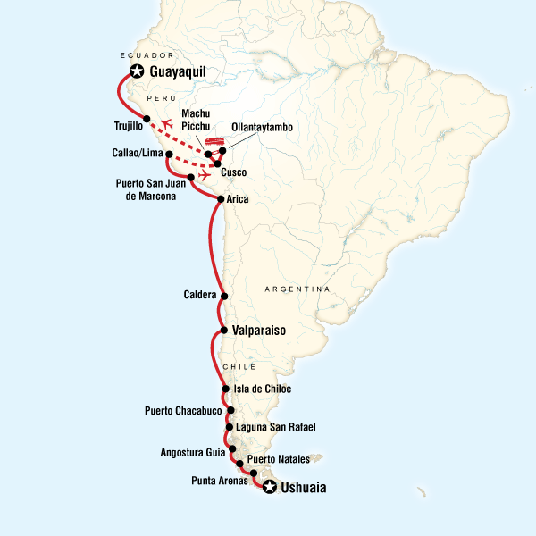 Map of the route for South America Cruise - Ushuaia to Guayaquil