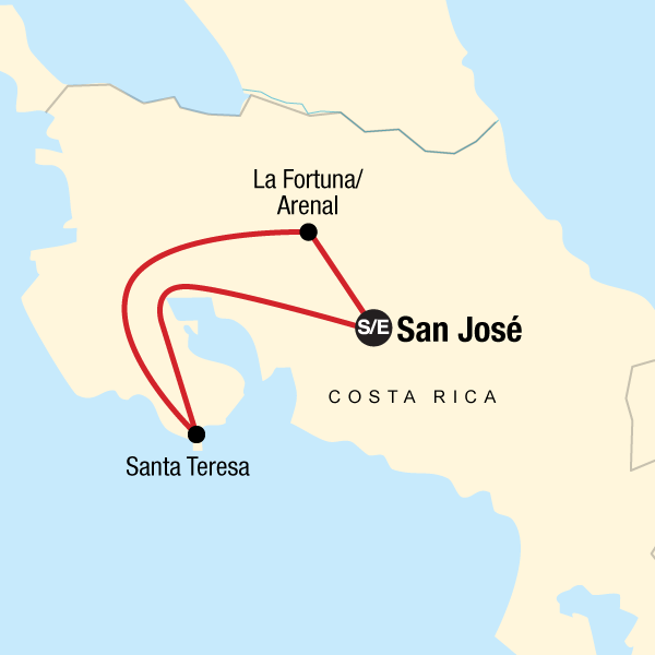 Map of the route for Costa Rica: Ocean Waves & Sunsets