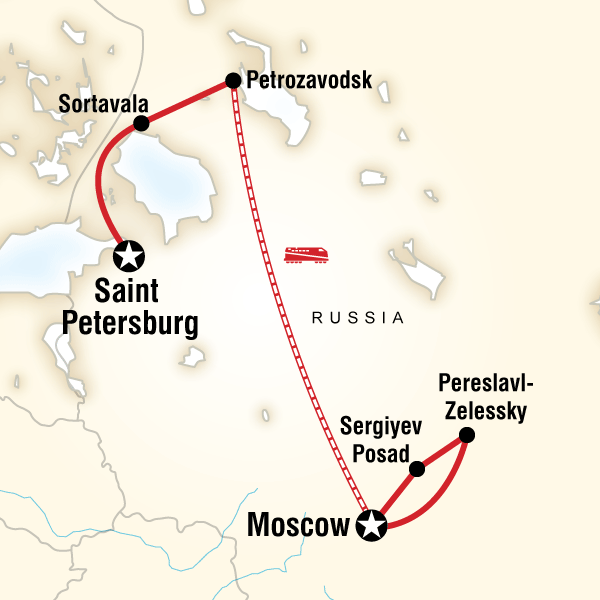 Map of the route for Backroads of Russia: Saint Petersburg - Moscow