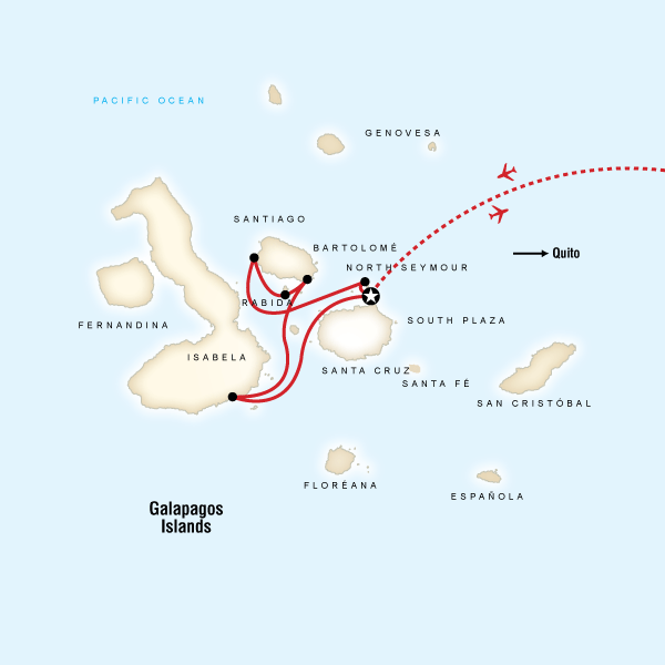 Map of the route for Galápagos  West & Central Islands aboard the Monserrat