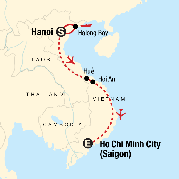 Map of the route for Classic Vietnam: Hanoi to Ho Chi Minh City — Plus