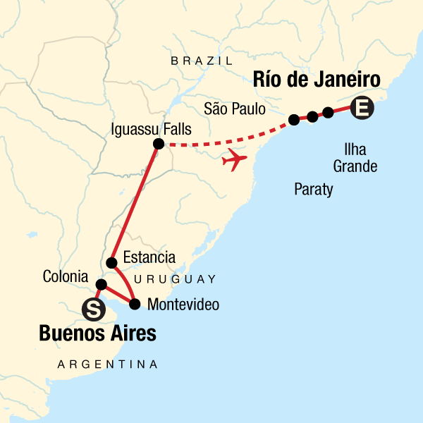 84e9caf5aba2 Map of the route for In Search of Iguassu–Buenos Aires to Rio