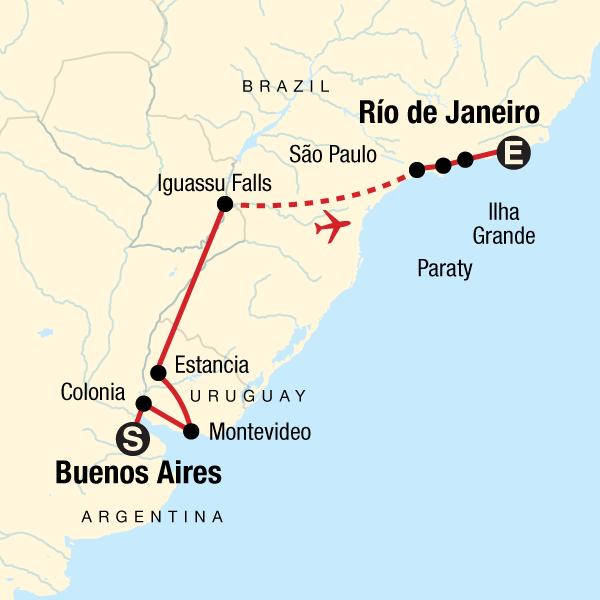Rio De Janeiro Karte.Auf Der Suche Nach Iguazu Von Buenos Aires Nach Rio