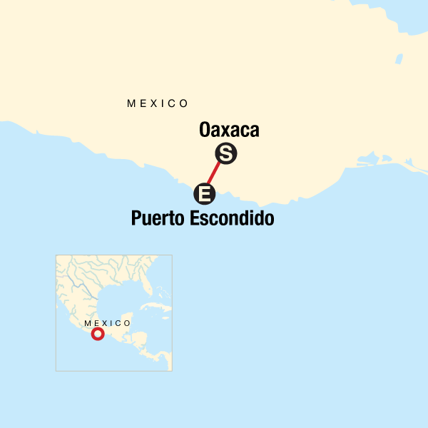 Map of the route for Oaxaca to Puerto Escondido: Day of the Dead