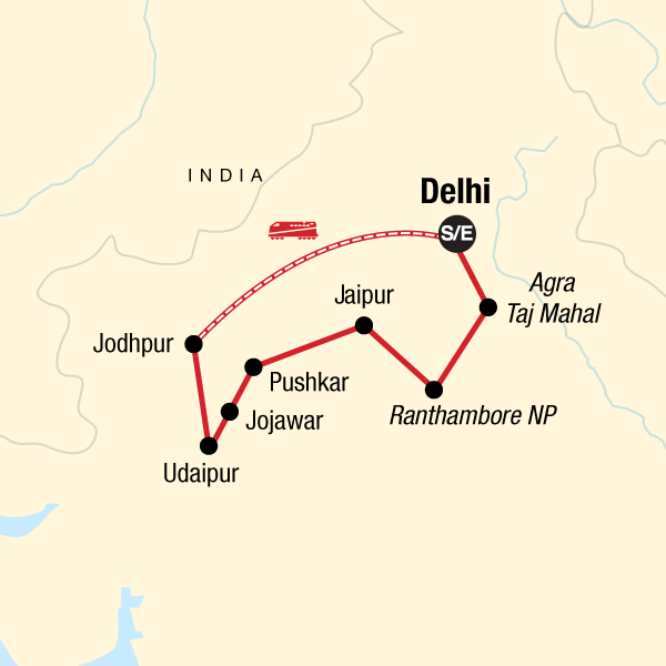 Map of the route for Rajasthan Adventure
