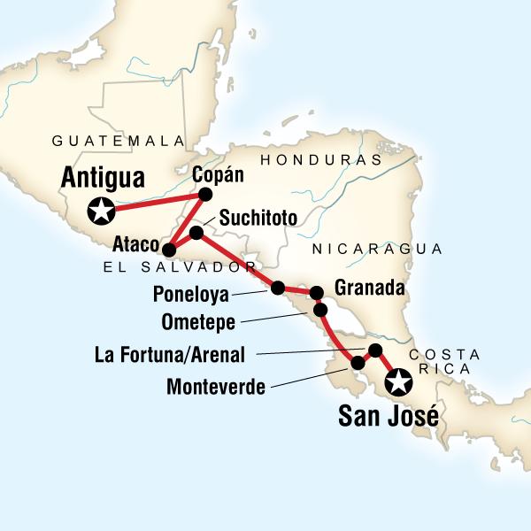 5 ülkeli Orta Amerika Turu Haritası
