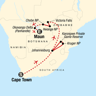 Map of The Great Southern Africa Safari