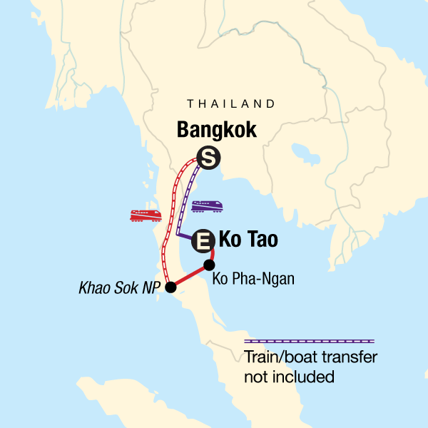 Map of the route for Southern Thailand Sojourn: Nightlife & National Parks