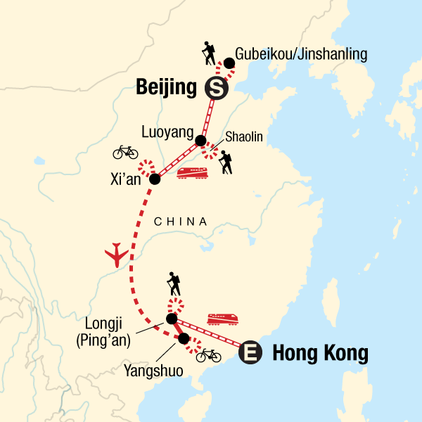 map of the route for china active adventure