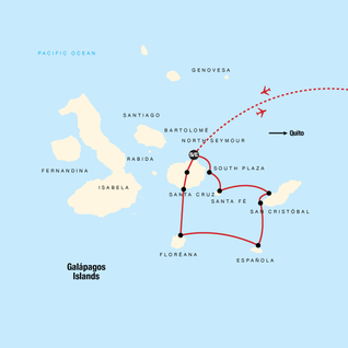 Map of Galápagos — South & East Islands aboard the Eden