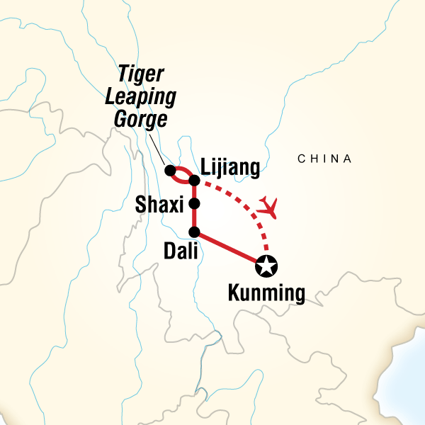 Map of the route for Best of Yunnan