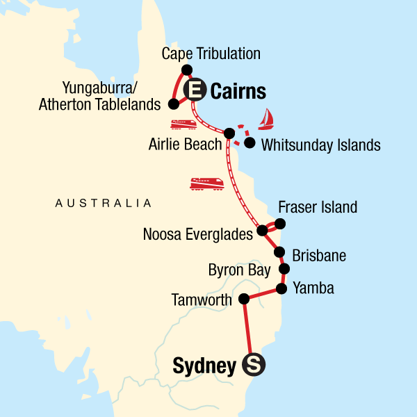 Australia Map Cairns.East Coast Encompassed Sydney To Cairns