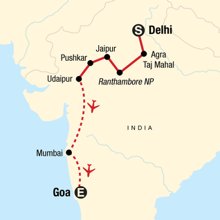 Map of TailorMade India: West Coast Discovery