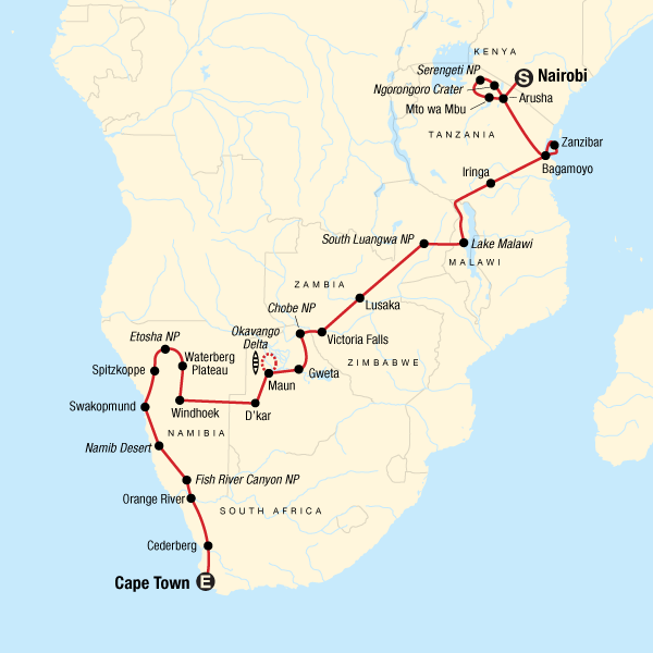 Map of the route for Serengeti, Falls & Cape Town Overland: Sunsets & Safaris