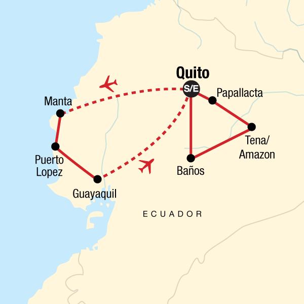 Map of the route for Ecuador Beaches, Amazon & Highlands