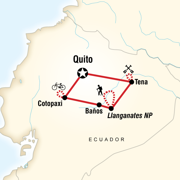 Map of the route for Ecuador Multisport