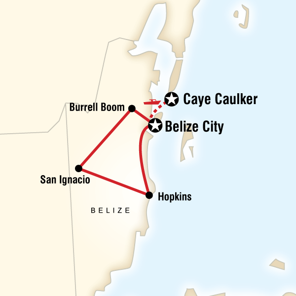 Map of the route for Explore Belize